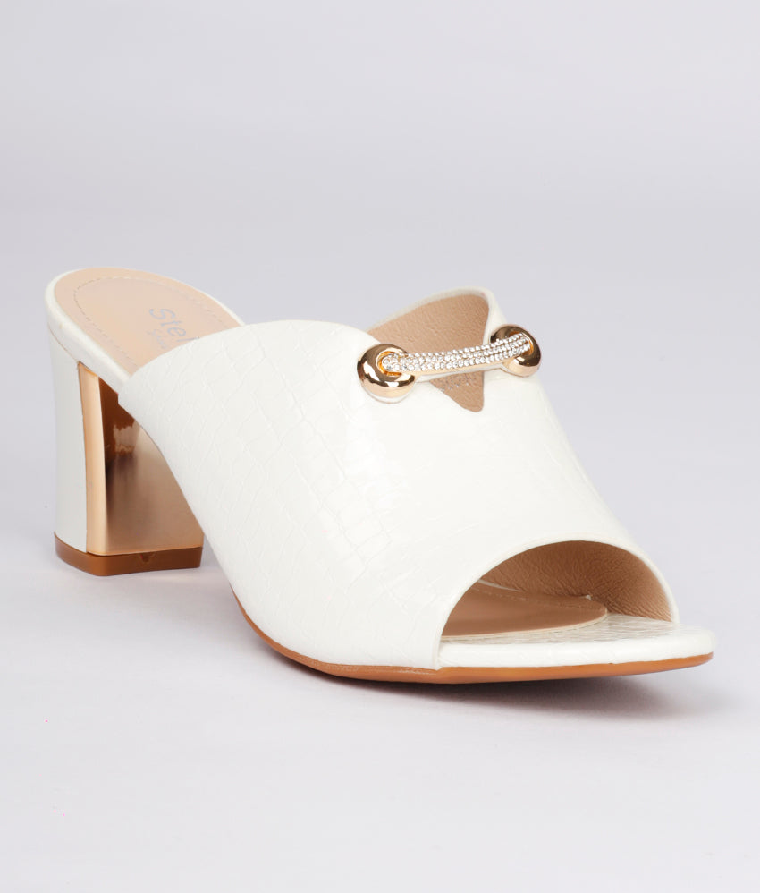 Women White Casual Mules