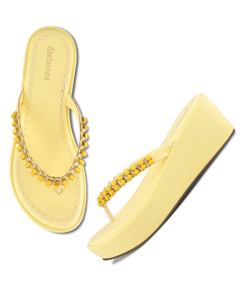 Women Yellow Casual Wedges
