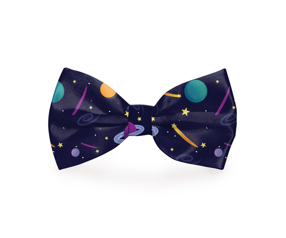 Space Planets Dog Bow Tie Navy Blue