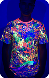 Rave Shirt Neon Glow in UV Fluorescent Splash Flamingo