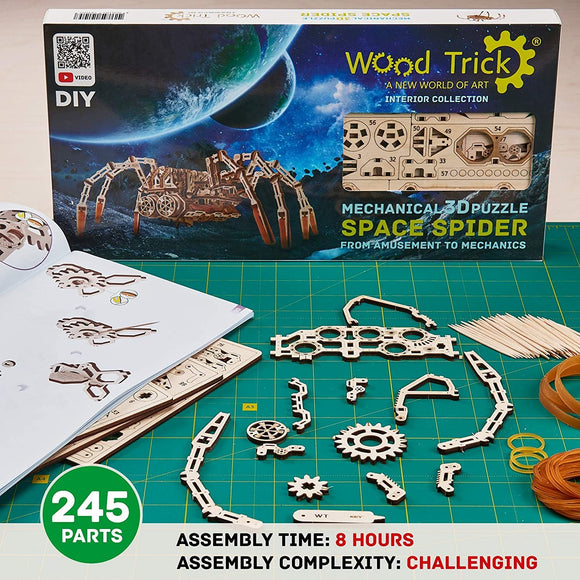 Mechanical 3D Puzzle Space Spider Wood Kit Set