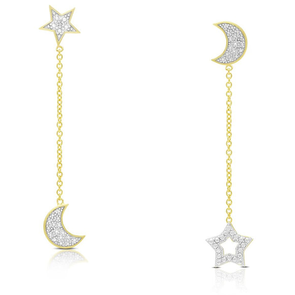 Crystal Drop Moon And Star Earrings
