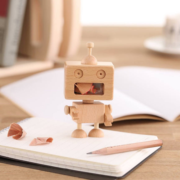 Wooden Robot Pencil Sharpener