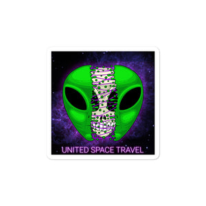 United Space Travel Split Alien Face Sticker