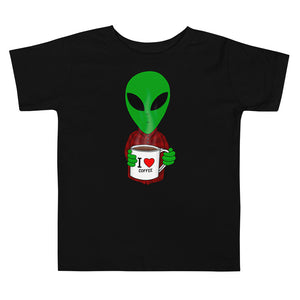 United Space Travel Alien I love coffee Toddler Short Sleeve Tee