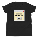 "United Space Travel ""Please Click OK"" Youth Short Sleeve T-Shirt"