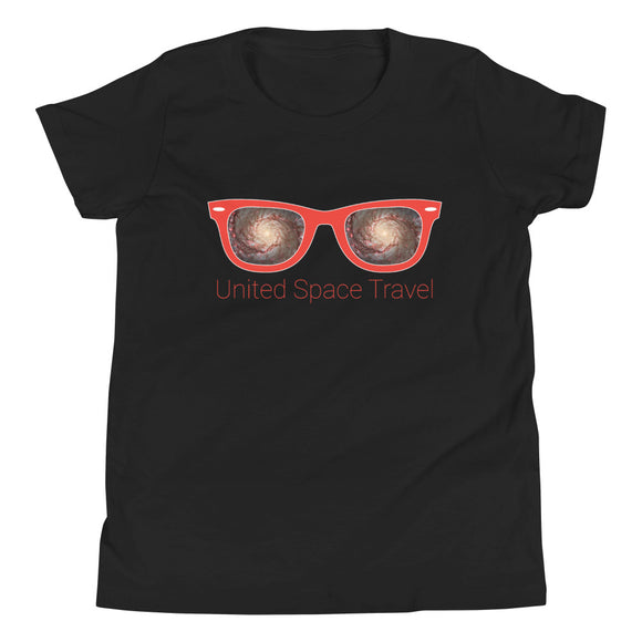 United Space Travel Red Sunglasses Youth Short Sleeve T-Shirt