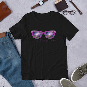 United Space Travel Purple Sunglasses Short-Sleeve Unisex T-Shirt