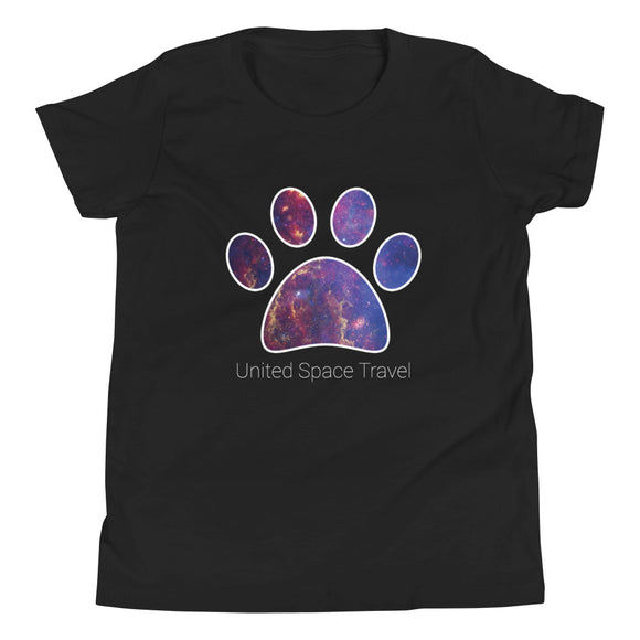 United Space Travel Galaxy Paw Youth Short Sleeve T-Shirt
