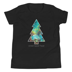 United Space Travel Galaxy Christmas Tree Youth Short Sleeve T-Shirt