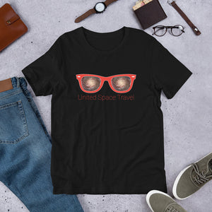 United Space Travel Red Sunglasses Short-Sleeve Unisex T-Shirt