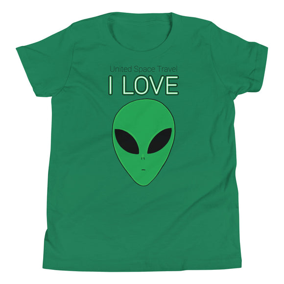 United Space Travel I love alien Youth Short Sleeve T-Shirt