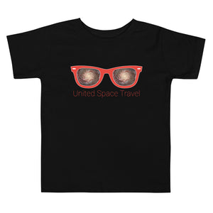 United Space Travel Red Sunglasses Toddler Short Sleeve Tee