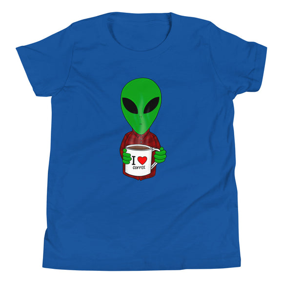 United Space Travel Alien I love coffee Youth Short Sleeve T-Shirt