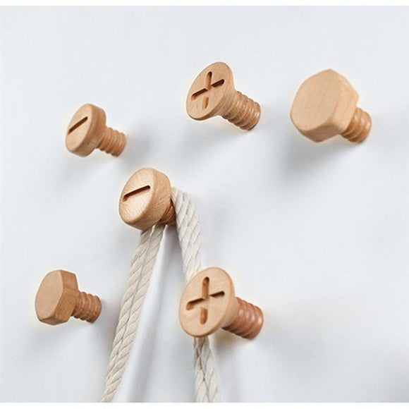 Solid Wood Decorative Coat Hook Creative Wooden Wall Hanging Screw Hook Button Hanger Beech Cross Home Accessory