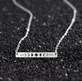 Moon Phase Statement Necklaces Pendants Gold Color Long Bar Lunar Talisman Gifts Stainless Steel Wiccan Jewelry