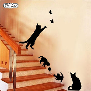 1 Set/Pack Cat Playing Butterflies Wall Sticker Removable Decoration Decals for Bedroom Kitchen Living Room Walls