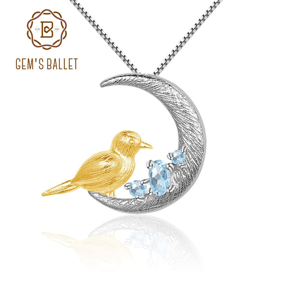 GEM'S BALLET Natural Sky Blue Topaz Gemstone Fine Jewelry Sterling Silver Moon Bird Pendant Necklace