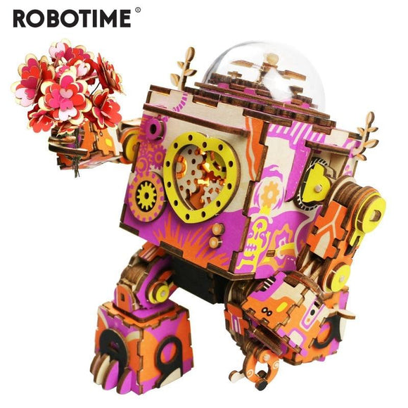 Colorful Robot Wooden DIY 3D Puzzle Game Steampunk
