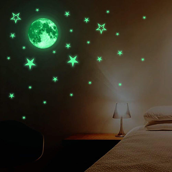 Luminous Moon Stars Wall Sticker Decoration Decals Glow in the Dark