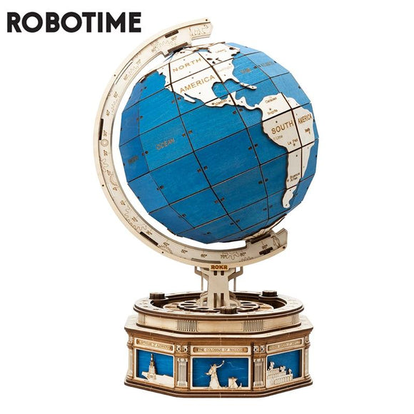567pcs Oversized Rotatable 3D Globe Wooden Puzzle Game Assembly