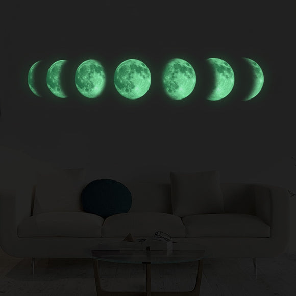 Luminous Moon Phase Wall Sticker Decoration Mural Art Decals Background Decor Glow in the Dark