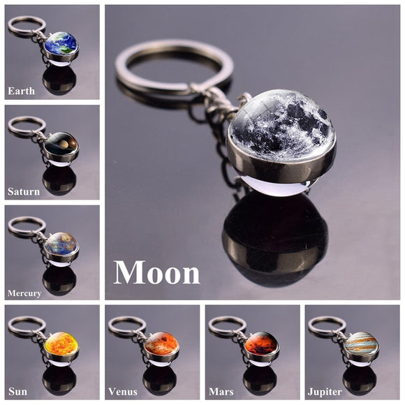 Solar System Planet Keyring Galaxy Space Keychain Moon Earth Sun Mars Art Picture Double Side Glass Ball Key