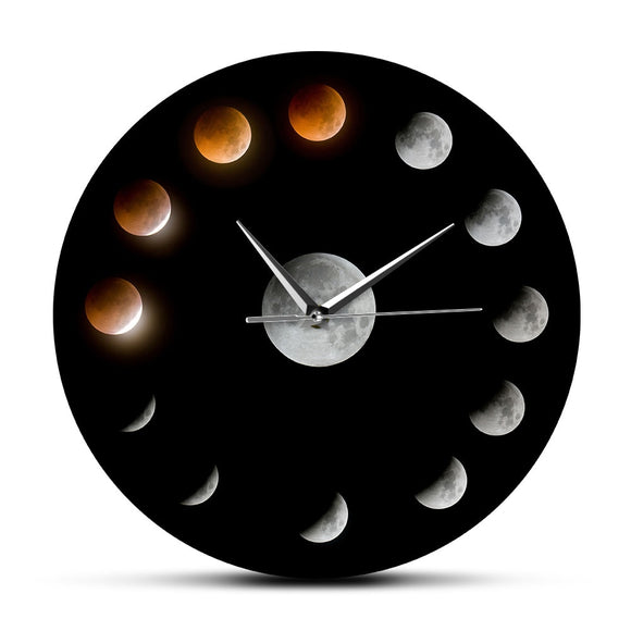 Series of Total Lunar Eclipse Moon Phases Wall Clock Outer Space Cycle Home Decor