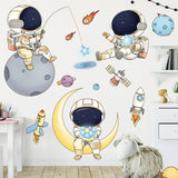 Removable Cartoon Space Astronaut Wall Stickers for Kids room Nursery Wall Decor Decals for Home Decoration
