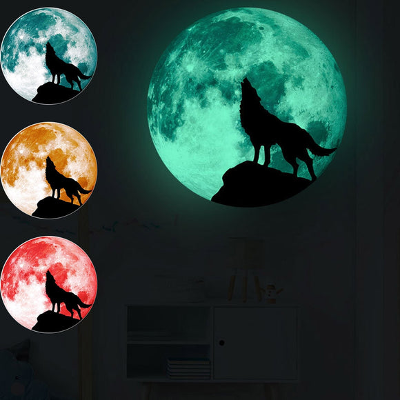 Creative Luminous Wolf Moon Wall Stickers For Home Decoration