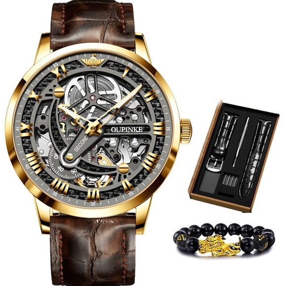 Luxury Mechanical Wristwatch Automatic Watch Skeleton OUPINKE Tungsten steel Sapphire Watch
