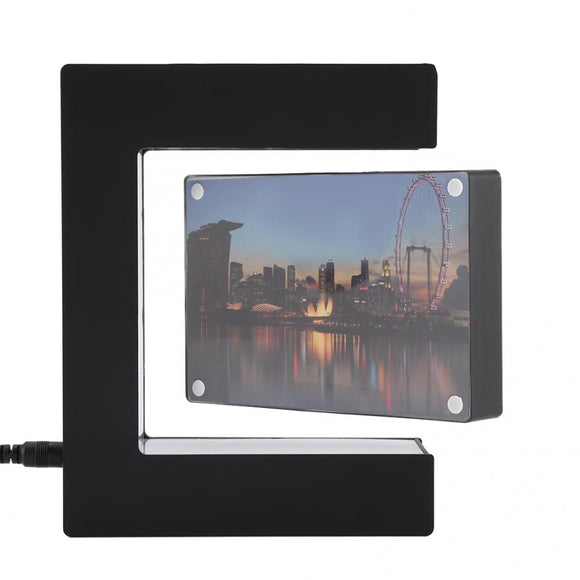 Electronic LED Magnetic Levitation Photo Frame Floating Home Office Decor Gift