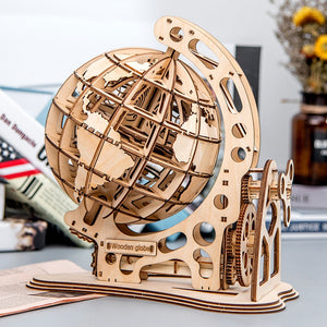 Wooden Mechanical Transmission Model Assembled Educational Toys Globe Self Assembled Creative 3D