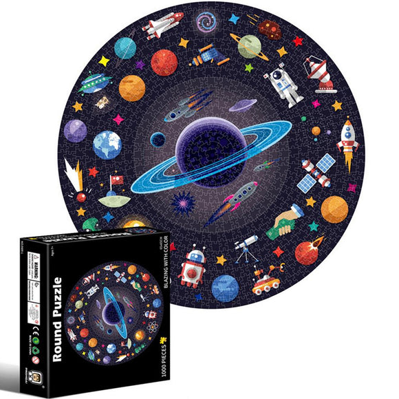 1000 Pieces Puzzles Round Jigsaw Puzzles Space Universe Series Intellectual Game Toy Gift