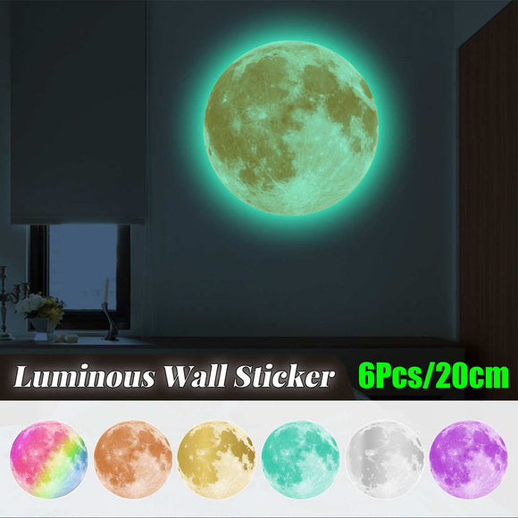 6Pcs Luminous Moon 3D Wall Sticker Living Room Bedroom Home Decoration Decal Glow in the dark Astronomy Stickers