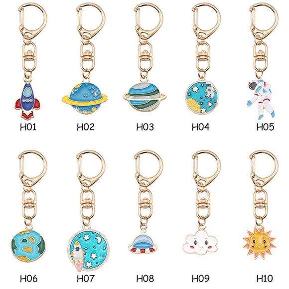 Astronaut Key Chains Space Travel Collection Keychains Key Rings Planet Star Galaxy Keyring