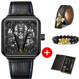 OUPINKE Automatic Skeleton Mechanical Watch Steampunk Sapphire Crystal Square Leather Transparent Wristwatch