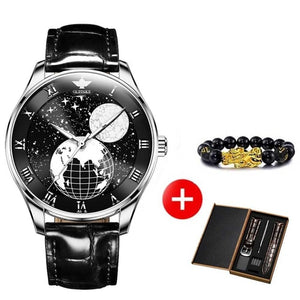 OUPINKE Self-wind Automatic Watch Men Moon Phase Starry Sky Mechanical Sapphire Crystal Leather Sports Business Wristwatch