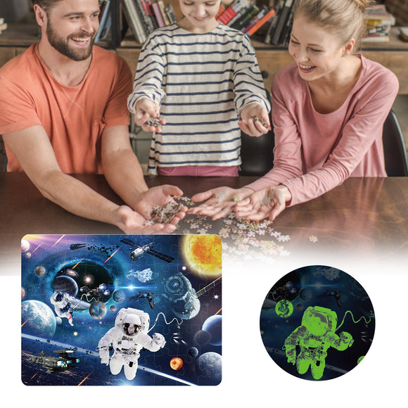 46Pcs Paper Puzzle Creative Cartoon Glowing Big Cosmic Puzzle Game Toys Set