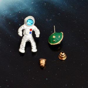 Fashion Astronaut Planet Pendant Necklace Stud Earrings Cosmonaut Universe Jewelry