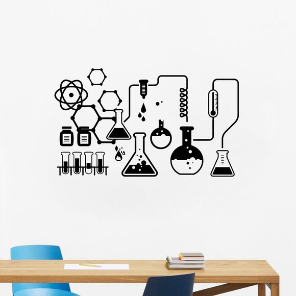 Science Chemical Lab Vinyl Wall Stickers Art Decor Scientist Chemistry Wall Decals For School Laboratory Decoration