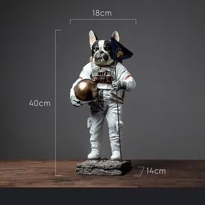 Astronaut Space Dog Statue Figurine Bulldog Art Sculpture Resin Home Decoration
