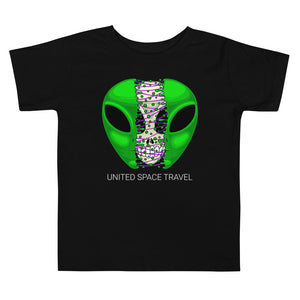 United Space Travel Split Alien Face Toddler Short Sleeve Tee