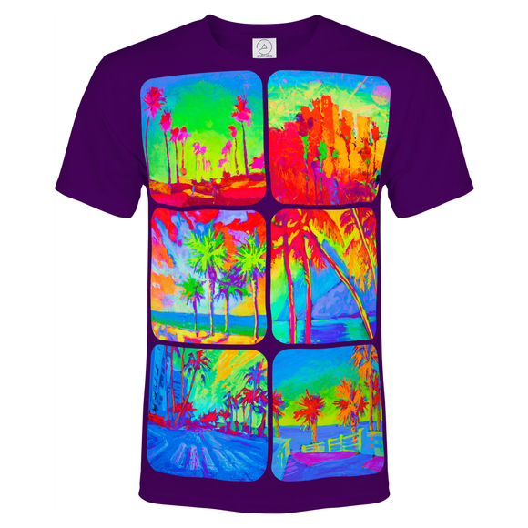 Shirts With Palms Glow in UV Fluorescent Neon Design