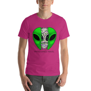 United Space Travel Split Alien Face Short-Sleeve Unisex T-Shirt