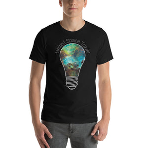 United Space Travel Galaxy Light Bulb Short-Sleeve Unisex T-Shirt