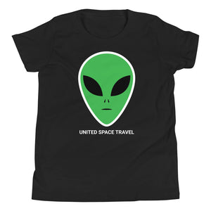 United Space Travel Alien Face Youth Short Sleeve T-Shirt