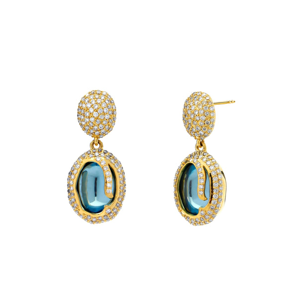 Mogul Blue Topaz & Diamond Mogul Earrings
