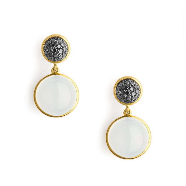 Candy Moon Quartz Black Diamond Earrings
