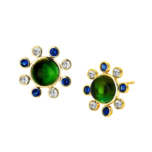 Cosmic Green Tourmaline and Blue Sapphire Studs